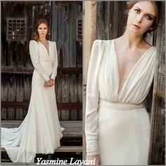 Manches longues, robe de mariée Ivoire, chiffon robe de mariée, robe de mariée romantique, robe de mariage de concepteur