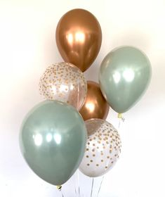 Sage Green and copper balloons! These stunning, one-of-kind balloons are the perfect way to make a pop at your next event! This Sage Green and Copper Balloon Bouquet includes: 2 Sage Green Double Layered Latex 11 Bridal Shower Planning, Bridal Shower Games, Bridal Shower Decorations, Baby Shower Parties, Baby Shower Themes, Baby Boy Shower, Baby Shower Green, Green Party Decorations, Bridal Shower Colors