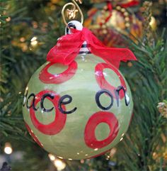 Peace on Earth Christmas Ornament (Green & Red) -- ChristianGiftsPlace.com Online Store  $9.90 Ceramic Christmas Trees, Christmas Tree Ornaments, Ceramics Ideas, Peace On Earth, Christian Gifts, Artsy, Hand Painted, Holiday Decor, Store
