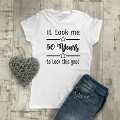 50 Aged To Perfection Birthday T-Shirt Top Tee Birthday 30th Birthday Shirts, 50th Birthday Gifts, Abraham And Sarah, Aged To Perfection, Milestone Birthdays, That Look, T Shirts For Women, Etsy, 40 Years