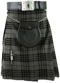Grey Scottish Mens Kilt Tartan Kilts Traditional Highland dress #HamiltonKilts #Sporran