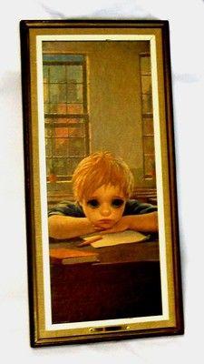 Vintage Big Eye Pity Eyed BoyTitled: The Thinker Framed Print By Miki 1962