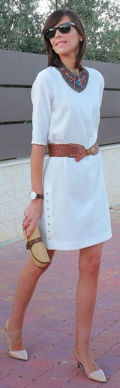 Front Row Shop White Textured Side Button Up Belted Shift Dress