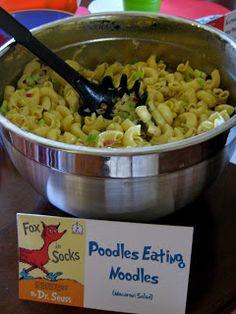 Dr. Seuss Party Theme: Pasta Salad / Macaroni Salad (poodles eating noodles or poodles' noodles)