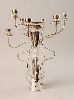 Silver plated candlestick Simon for 7 candles with stainless steel centre-piece design Bořek Šípek 1988 executed by Driade 1989