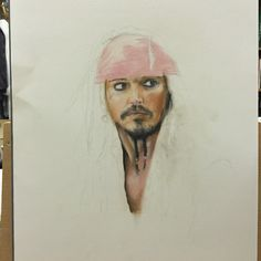 Working on jack sparrow!(chalks on paper)
