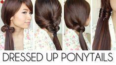 4 manières d'habiller votre queue de cheval Hairstyles for Medium Long Hair Tutorial  ❤