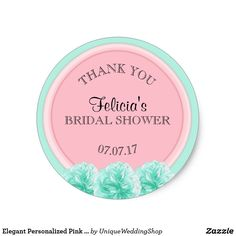Elegant Personalized Pink Mint Green Bridal Shower Classic Round Sticker