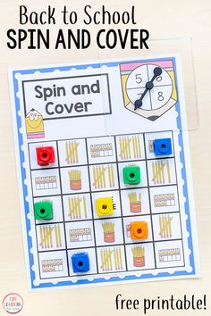 This no prep pencil spin and cover game is perfect for back to school math centers. Learn numbers and counting in a fun and hands-on way with this free printable math game. Printable Math Games, Kindergarten Math Activities, Fun Math Games, Printable Activities For Kids, Preschool Printables, Free Printable, Preschool Names, Numeracy Activities, Emotions Activities