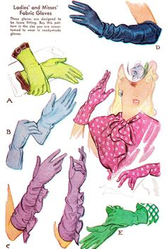 1940s Womens Gloves Pattern McCall 1188 Elbow by paneenjerez, $50.00
