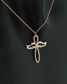 Κολιέ Σταυρός ροζ χρυσός Κ18 με Διαμάντια | eleftheriouonline.gr