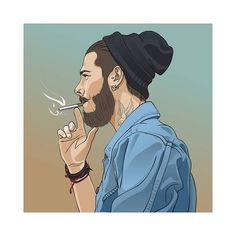 Illustration of Young handsome bearded hipster man smoking cigarette. Vector illustration vector art, clipart and stock vectors. Joker Iphone Wallpaper, Smoke Wallpaper, Cartoon Wallpaper Hd, Joker Wallpapers, Boys Wallpaper, Shiva Wallpaper, Cute Cartoon Pictures, Cute Love Cartoons, Cute Profile Pictures