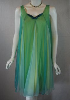 224108c1bd 1960s Vanity Fair Nightgown small medium Tri by IntimateRetreat Green  Lingerie