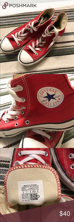 Women's Hightop Converse Women's Hightop Converse. Size 7, color red. Bought for a high school dance and never wore again, so like new condition!!!! Super cute just not my style.😊 Converse Shoes Sneakers