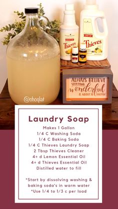 Stretch and Boost your Young Living Laundry SoapYou can find Young living essential oils and more on our website.Stretch and Boost your Young Living Laundry Soap Essential Oils For Laundry, Thieves Essential Oil, Lemon Essential Oils, Young Living Essential Oils, Essential Oil Blends, Essential Oil Spray, Limpieza Natural, Homemade Cleaning Products, Cleaning Recipes