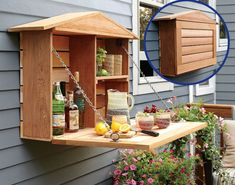 to Build a Fold-Down Murphy Bar IDEA ✎ cool for garden tools too?IDEA ✎ cool for garden tools too? Outdoor Spaces, Outdoor Living, Outdoor Decor, Outdoor Buffet, Outdoor Bedroom, Outdoor Bars, Outdoor Kitchens, Outdoor Projects, Home Projects