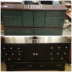 We got this dresser at Goodwill for $9 and so I sanded and repainted it black.  I also used a silver spray paint to paint the small round knobs as well as getting some really cute knobs (for the center two doors) at TJ Maxx.  The bottom hardware is from Home Depot.  Well use it for an entertainment center.  I love re-dos! :)
