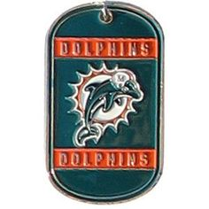 "NFL Dog Tag - Dolphins. Show your loyalty to the boys on the gridiron with these custom personalized NFL Dog Tags! Each includes team name and logo as well as a long, easy-on-and-off chain and plenty of room for personalization. Choose your favorite team and wear it during football season and all year round! All NFL teams available. Tag measures 2 1/8"" x 1 1/4"" x 1/16"". Chain measures 17 1/2"". Personalize with 2 lines of up to 15 characters per line.This item takes 3-4..."