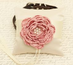 Dusty Pink Ring Pillow attached to Dog collar, Dog ring bearer, Pet wedding accessory, Dog lovers, Ivory pillow, Flowers with pearls