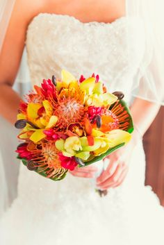 Find out how to submit your wedding to The Knot so you can potentially be featured in our real weddings section or in our magazine. Beach Wedding Bouquets, Bride Bouquets, Bouquet Wedding, Wedding Events, Wedding Decor, Wedding Ideas, Bridal Flowers, Cut Flowers, Protea Bouquet