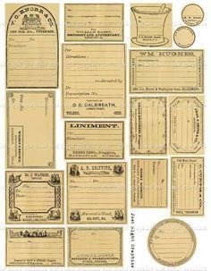Vintage Blank Apothecary Labels Journaling Card Ephemera Digital Collage Sheet is part of Apothecary labels - JustRightGraphics Éphémères Vintage, Papel Vintage, Images Vintage, Vintage Labels, Vintage Ephemera, Vintage Paper, Vintage Prints, Vintage Logos, Printable Labels