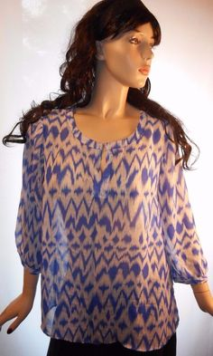 $12.79 & Ships Free: Gorgeous Blue Lightning Size Large Sheer 3/4 Sleeve Blouse Polyester #Unbranded #Blouse #Casual