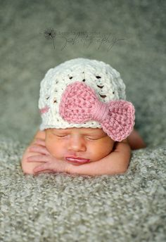 Newborn baby girl hat, baby girl clothes, coming home outfit, newborn girl photo prop, pink, bow beanie, infant girl hat, newborn girl