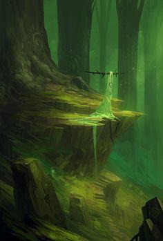 just-art: Colorful Fantasy Illustrations by EdCid Fantasy Artwork, Fantasy Concept Art, Dark Fantasy, Fantasy Forest, Environment Concept Art, Environment Design, Fantasy Places, Fantasy World, Fantasy Landscape