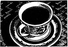 Etyy'de flyingmonkeystudio olan 'Coffee Brewing Original Linocut ACEO'