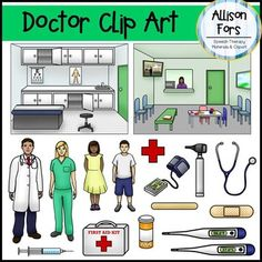 Doctor Clipart Set: This set includes 34 images - 17 color and 17 black & white. All images are in PNG formats and 300 dpi.  Images: - Exam room scene - Waiting room scene - Doctor - Nurse - Boy - Girl - Stethoscope - Thermometer (Celsius and Fahrenheit) - Otoscope - Electronic blood pressure cuff - Syringe - First Aid kit - Medical Red Cross symbol - Medicine bottle with pills - Band aid - Tongue Depressor