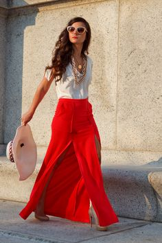 red double slit maxi skirt with white top