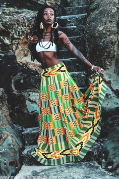 One of a kind African Bohemian ruched skirt handmade from high quality printed Kente Fabric. The picture says it all… Feminine and full… I have used several yards of fabric to create some drama. With 8 wide panels, this skirt really makes a statement. Afro Punk Fashion, Boho Fashion, Fashion Black, Fashion Vintage, Fashion Styles, Bohemian Mode, Bohemian Style, Vintage Bohemian, Hippie Bohemian