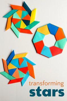 Paper transforming ninja star for math art project