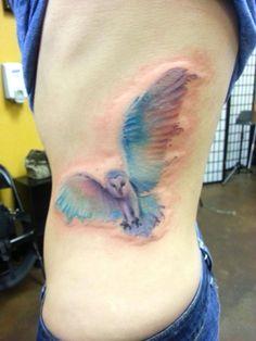 watercolor owl By Matt Geiogamah at Salt & Light Tattoo, Chandler AZ