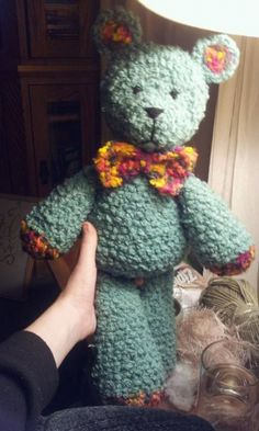 """20"""" teddy. Even though I love this really cute teddy, my main purpose is to encourage anyone that enjoys Amigurumi critters to head over to this site. At the time I pinned this, there were 3375  pins for Amigurumi. Whatever you're looking for is probably there!!"""