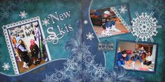 Girl or Boy Scrapbook Page - 2 page winter layout with a ski snowflake - from Christmas Album 4.