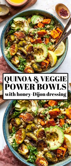 Quinoa Power Bowls with Maple Chipotle Brussels and Smoky Butternut Squash are perfect for meal prep or weeknight dinner. Vegan, gluten free, and equal parts nutritious and delicious. Vegan Meal Prep, Vegan Dinner Recipes, Vegan Dinners, Veggie Recipes, Whole Food Recipes, Cooking Recipes, Healthy Recipes, Healthy Vegan Meals, Vegan Weeknight Meals