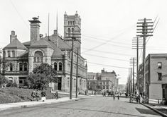 """Circa 1910. """"Post office and First Street, Duluth, Minnesota."""" 8x10 glass negative, Detroit Publishing Co."""