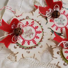 snowflakes layered with embellishments is a good ornament idea