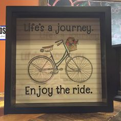 "Life's a Journey, Enjoy the ride, Travel adventures, ticket stubs 12x12"" Shadow Box, Memory Box, anniversary gift, vintage bicycle,"