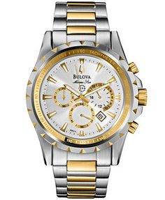 Bulova Men's Chronograph Marine Star Two-Tone Stainless Steel Bracelet Watch 42mm 98B014