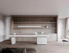 Un minimalista apartamento en Melbourne por Lotta Agaton Interiors - Nomadbubbles Modern Kitchen Design, Interior Design Kitchen, Stone Kitchen, Contemporary Apartment, Contemporary Kitchens, Apartment Complexes, Interior Concept, Nordic Design, Design Design