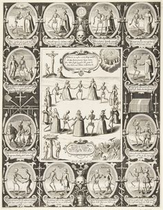 A German broadside of the Danse Macabre. Nine women of different social rank from empress to fool dance with the dead. The entire economy of salvation is depicted, from the Fall, through the crucifixion, to Heaven and Hell. Twelve more traditional Dance Macabre figures, from pope and emperor down to fool, surround the central image.