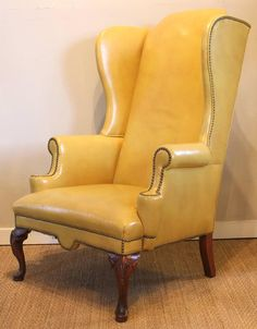 Mustard Yellow Leather Wing Chair image 6 & Incredibly Awesome Vintage High Wing Back Chair | Upholstery ...