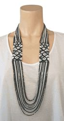 Josefina de Alba Silver Leopard Necklace in Black/White $40