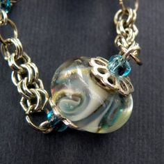 Silvered Seas Necklace  Blue / Silver  Lampwork by OnThirdThought