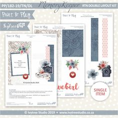 #PP/182-19/TN/DL - Print& Play Memory Keeper Travel Notebook Double Layout Kit Travel Journal Scrapbook, Studio Art, Kit, Printable Paper, Travelers Notebook, Art Studios, Gallery Wall, Paper Crafts, Layout