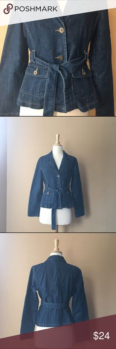 Boutique Jean Jacket Boutique Jean Jacket, with sash to tight on waist, and pleaded design on back, 3 buttons, Fabric is a mix of Cotton and Polyester, Size is Petite Medium, Bust: 18in Length: 21in Waist15in  Sleeves: 23in Boutique Jackets & Coats Jean Jackets