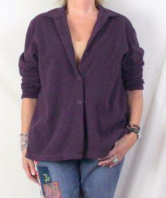 Lands End Fleece Shirt Jacket L 14 16 size Dark Plum Purple Soft All Season #LandsEnd #FleeceJacket