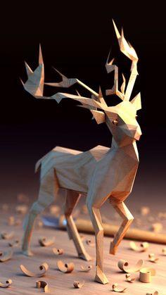 Low-Poly Art - Wooden lowpoly on Behance Art Sculpture, Animal Sculptures, Polygon Art, Modelos 3d, 3d Artwork, Art 3d, Carving Designs, Wooden Animals, 3d Prints
